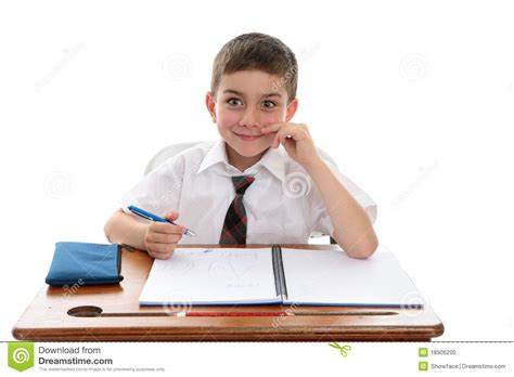 School Boy Student At Desk Stock Photo Image Of Homework Student Sitting At Desk