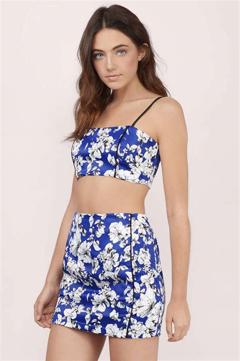 Set Flowery Dress two dresses crop top and skirt set 2 dress