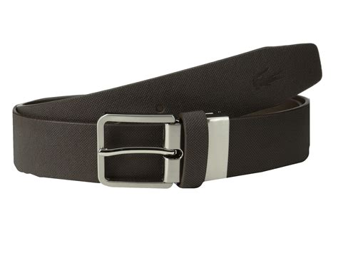 lacoste spw leather pique belt embossed croc in brown for