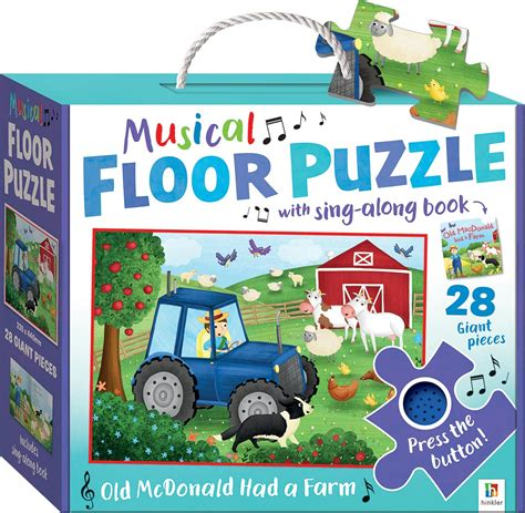 Large Floor Puzzle Numbers Words Hinkler nursery rhymes misical floor puzzle macdonald