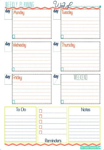 printable homeschool weekly planner week at a glance form infos or and homeschool
