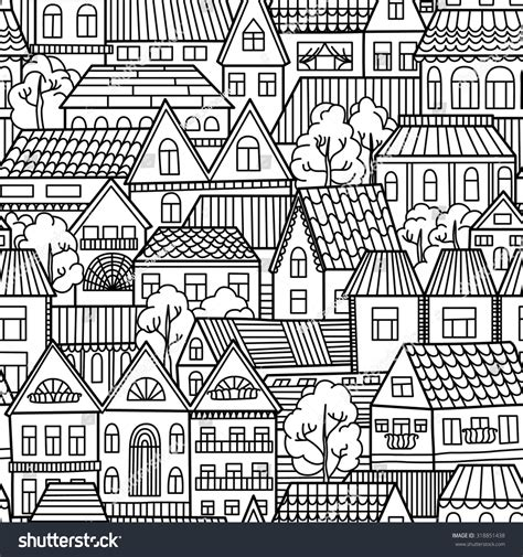 seamless pattern houses black white seamless pattern houses trees stock vector