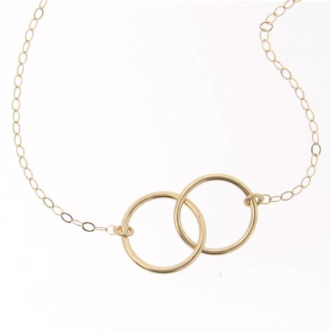 interlocking circles necklace small 9mm 14k yellow white