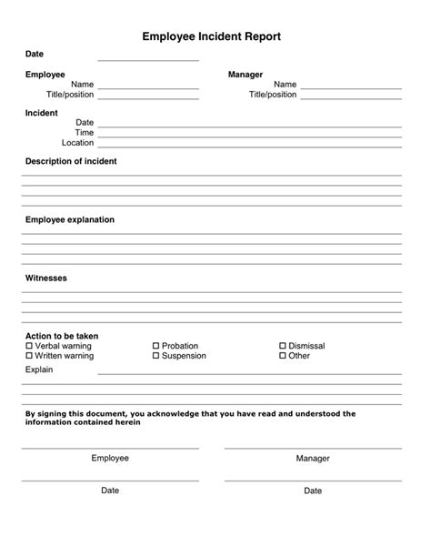 employee incident report form in word and pdf formats