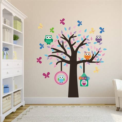 wall sticker owl owl tree fabric wall sticker set by mirrorin notonthehighstreet
