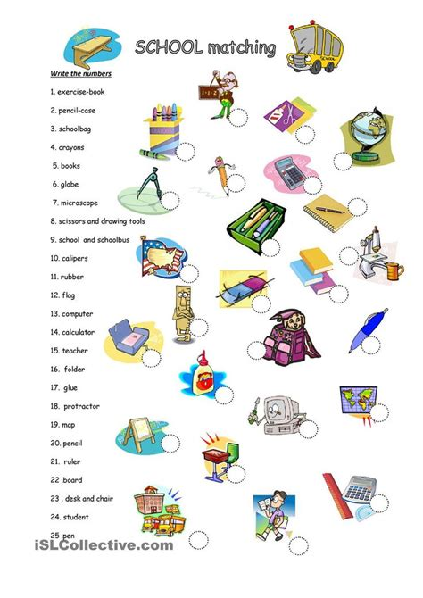 school objects matching b w worksheets kola pinterest 1707 best english worksheets images on pinterest