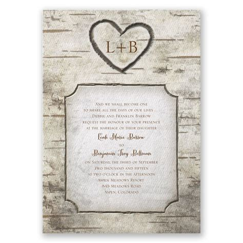 Birch Tree Carvings Invitation   Invitations By Dawn
