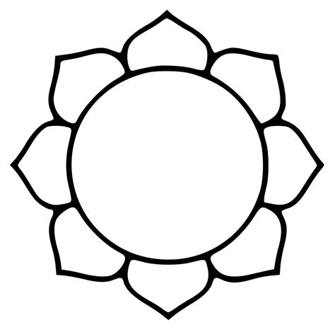 Lotus Black And White Outline by File Lotusoutline Svg