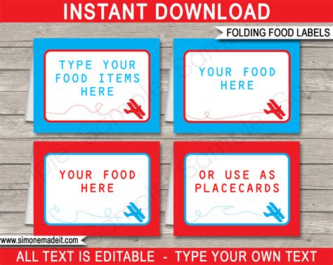airplane birthday party food labels place cards