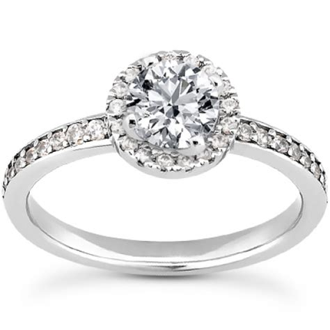 Prong And Bead Set Engagement Ring With Bead Set