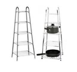 Saucepan Racks Holders Stands 5 Tier Chrome Pot Saucepan Frying Pan Rack Stand Storage