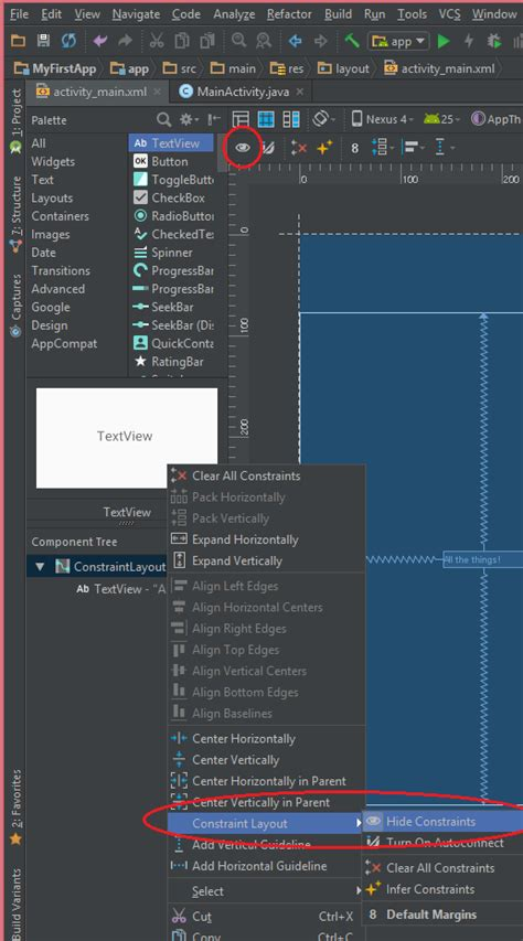 android layout not visible android studio 2 2 constraint layout buttons not visible