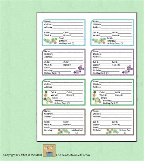 address card template free address book contact list pdf printable digital