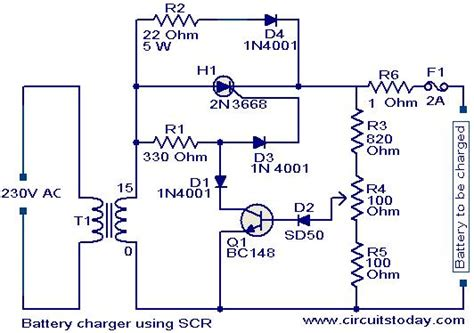 scr controlled battery charger circuit diagram battery charger circuit using scr electronic circuits