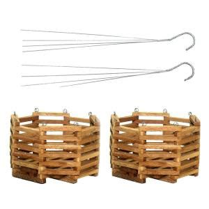 Home Depot Hanging Planters by Better Gro 10 In Wooden Octagon Hanging Baskets 2 Pack