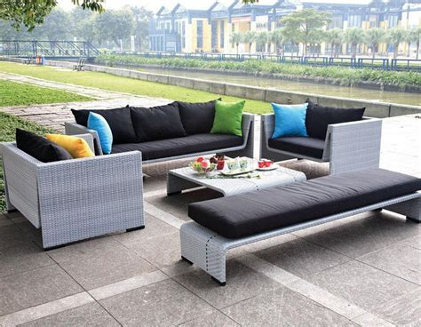 grey outdoor sofa grey finish modern 5pc outdoor sofa set