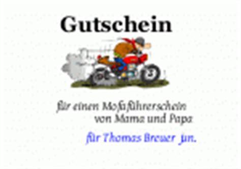 Motorrad F Hrerschein Spr Che by Mofafuehrerschein Als Gutschein Vorlagen Muster
