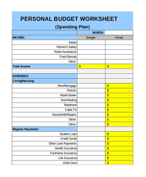 Free Personal Budget Template 9 Free Excel Pdf Documents Download Free Premium Templates Personal Templates