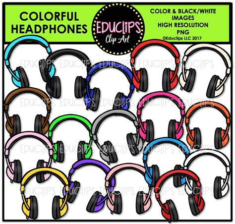 colorful headphones colorful headphones clip bundle color and b w