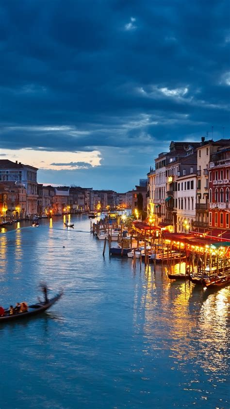 hd background venice italy night view gondola rides river