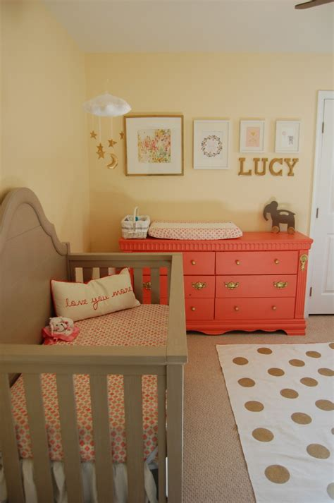 Lucy S Gray Coral And Gold Nursery Project Nursery Gold Nursery Decor