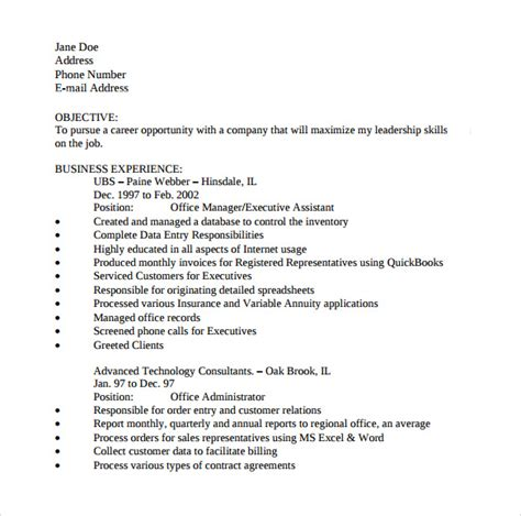 Office Assistant Resume Template by 10 Office Assistant Resume Templates To Sle