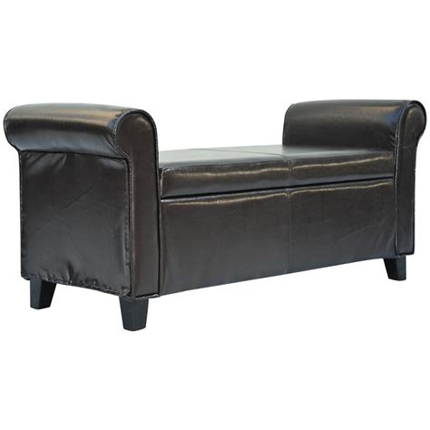 modern leather storage bench homcom 50 quot modern pu leather armed storage ottoman bench