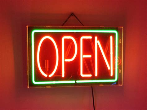 Lighted Open Sign by Green Neon Open Sign