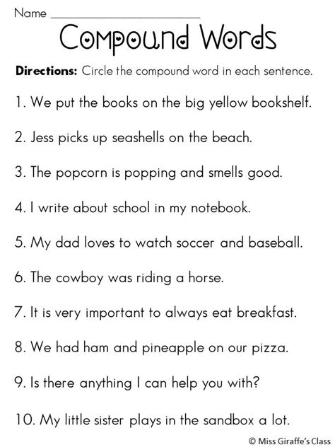compound words in sentences compound words worksheets and activities mega pack