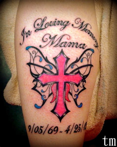 memorial cross tattoo designs memorial tat butterfly cross cool ink