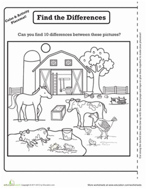 Farm Worksheets Preschool by Farm Activity Placemat Worksheet Education