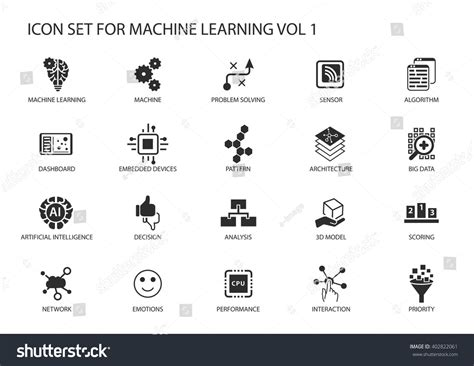 pattern analysis en francais smart machine learning vector icon set stock vector