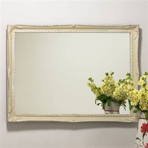 Handcrafted Mirrors - slim swept painted vintage white mirror by