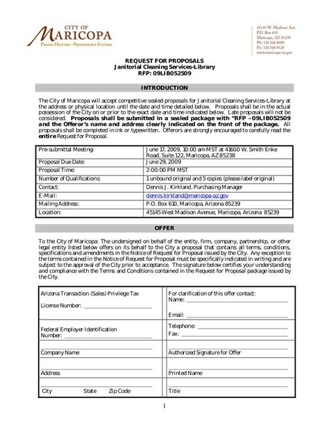Request For Proposals Janitorial Cleaning Services Library Rfp Rfp For Cleaning Services Template
