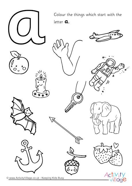 color that starts with an s start with the letter a colouring page