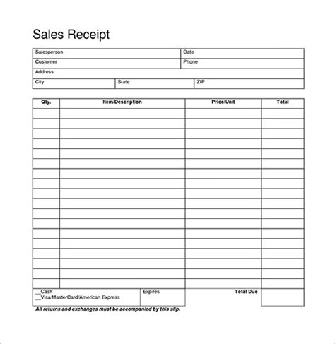 free printable sales receipt template blank receipt template best business template
