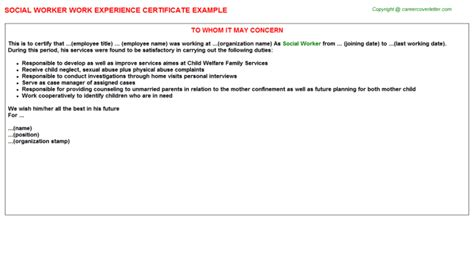 Work Experience Letter To Parents Social Worker Work Experience Certificates