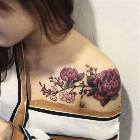 rose tattoos on front shoulder shoulder flower tattoos designs ideas and meaning