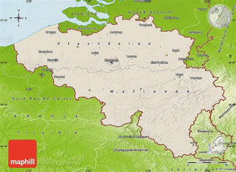 geographical map of belgium shaded relief map of belgium physical outside