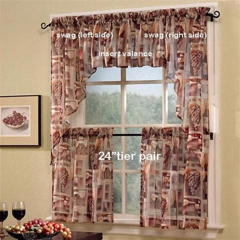 wine curtains valances 24 quot tastings wine print sheer tier curtain pair by s