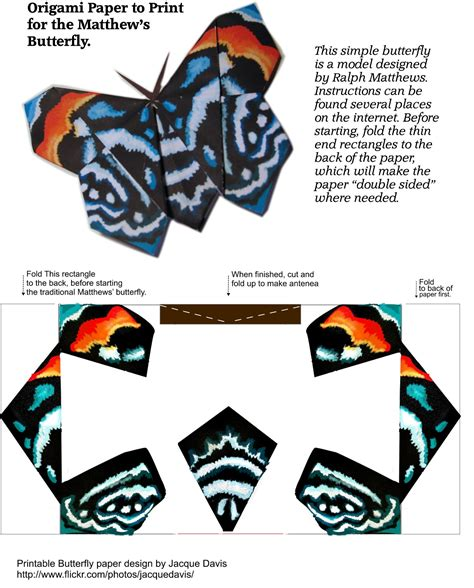 Folded Paper Butterfly Template - origami butterfly template free printable papercraft