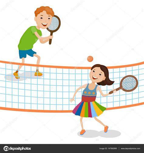 dibujos de niños jugando tenis ni 241 os de dibujos animados jugando tenis vector de stock