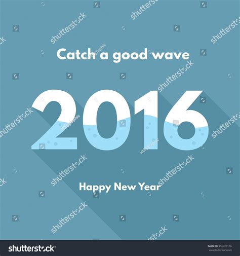 auspicious date for new year 2016 new year 2016 wave stock vector illustration