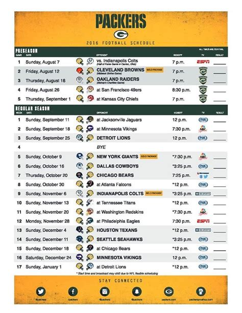 printable schedule for green bay packers 25 best ideas about packers schedule on pinterest