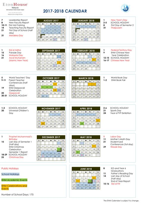 Malaysia 2018 Calendar Calendar Etonhouse International School