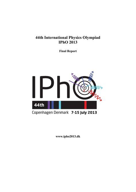 Ipho 2013 Final Report