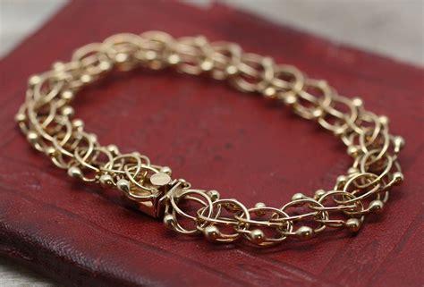 Handmade Gold Bracelet - handmade 14k gold charm bracelet pippin vintage jewelry