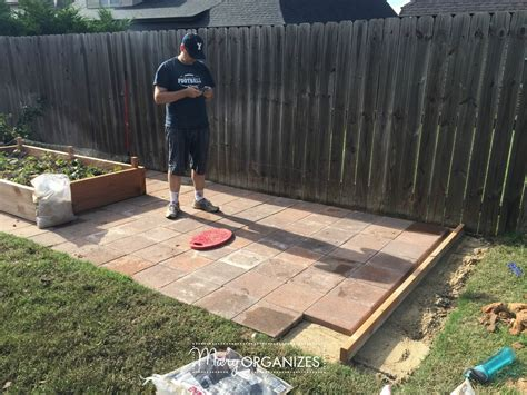 Lay Patio Pavers How To Install A Paver Patio The Foundation Of My Raised Garden Beds Creatingmaryshome
