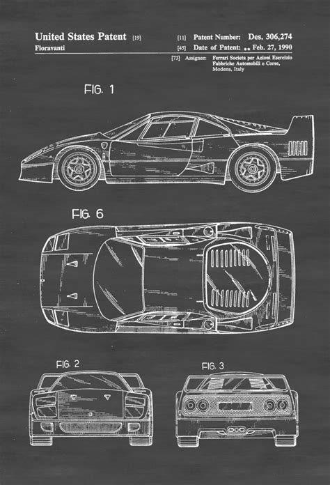 ferrari wall art ferrari f40 patent patent print wall decor automobile
