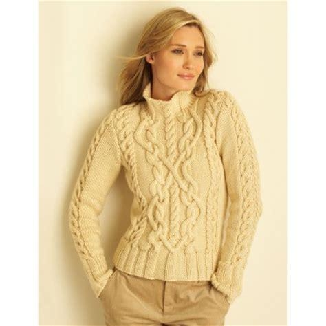 Knitting Patterns Women S Sweaters Free   bernat cable sweater for women free knitting pattern